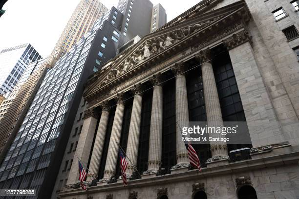 American flags are on display on the New York Stock Exchange on July 23, 2020 in New York City. On Wednesday July 22, the market had its best day in...