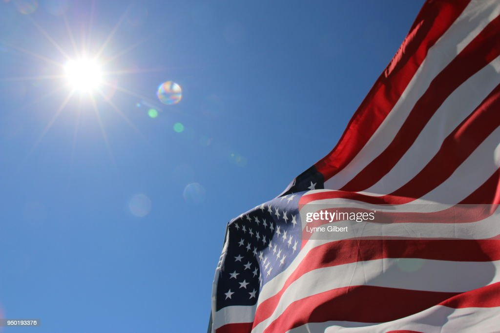 American flags blown in the wind in Malibu California : Stock-Foto