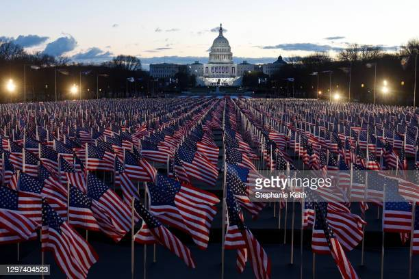 "American flags decorate the ""Field of Flags"" at the National Mall near the U.S. Capitol early morning ahead of the inauguration of U.S...."