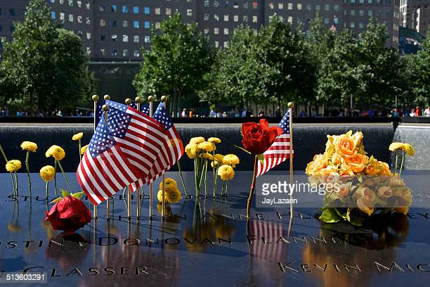 American Flags, Flowers, September 11th Memorial, World Trade Center, NYC