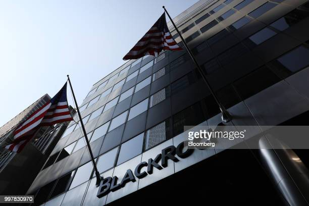 American flags fly at BlackRock Inc headquarters in New York US on Wednesday June 11 2018 BlackRock Inc is scheduled to release earnings figures on...
