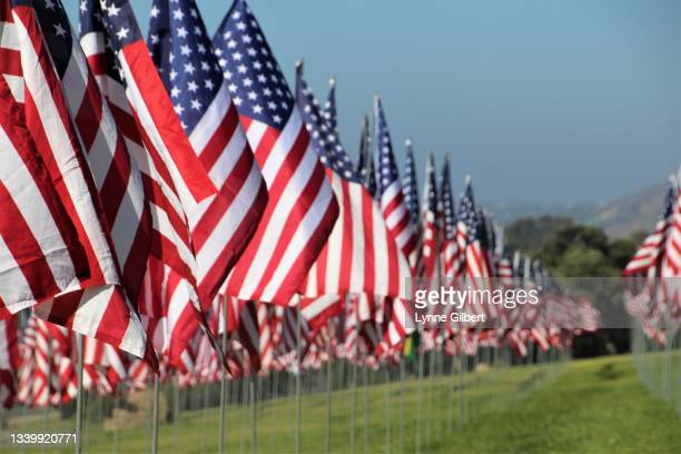 american flags fly with a beautiful bright blue sky in malibu, ca - pepperdine university stock pictures, royalty-free photos & images