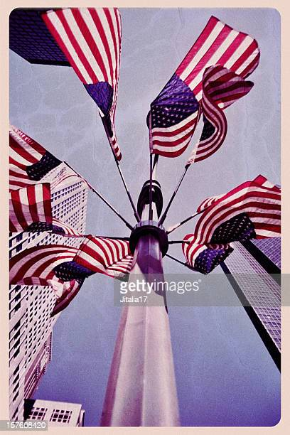 american flags flying over new york - vintage postcard - flag day stock pictures, royalty-free photos & images