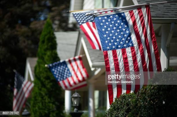 American Flags in UpperMmiddle Class Suburban Neighborhood