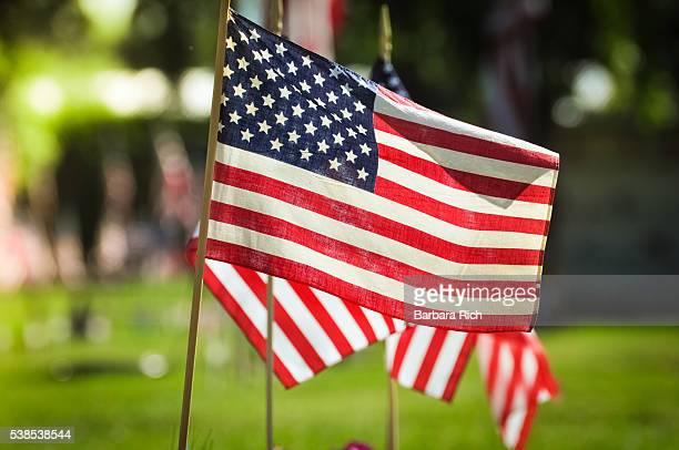 american flags mark the graves of veterans for memorial day service at durham, california cemetery - memorial day remembrance stock pictures, royalty-free photos & images