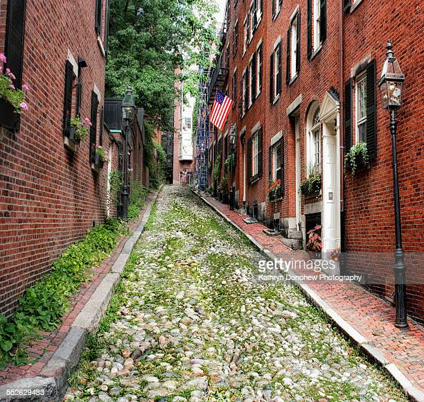 american flags on homes - acorn street boston stock pictures, royalty-free photos & images