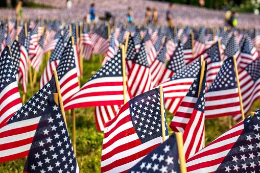 American flags to remember the Memorial Day. Gardens of Boston Common, Boston, Massachusetts, USA. 946965522
