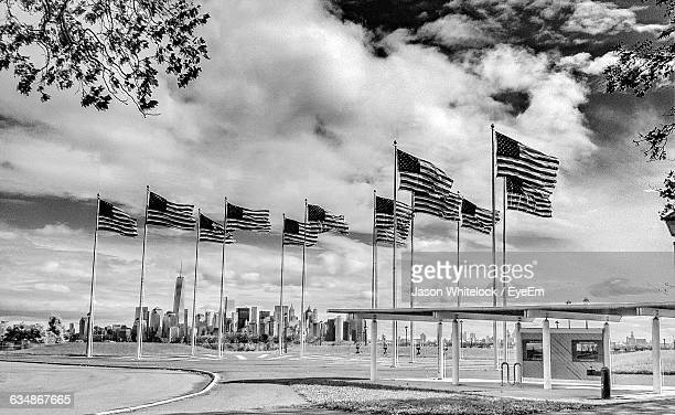 American Flags Waving At Liberty State Park