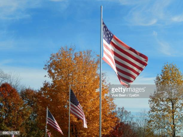 American Flags Waving By Trees Against Sky During Autumn