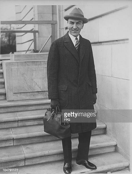 American flying ace Captain Edward Vernon Rickenbacker leaves the offices of the House Aircraft Inquiry Committee 1925 He has just testified that the...