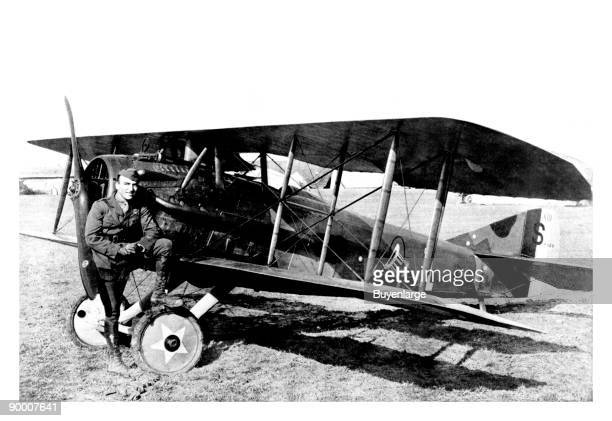 American flying ace Eddie Rickenbacker of the US 94th Aero Squadron with his SPAD SXIII fighter France circa 1918
