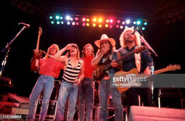 American Folk and Country group Pirates of the Mississippi take a bow onstage after their performance at the Rosemont Horizon Rosemont Illinois...