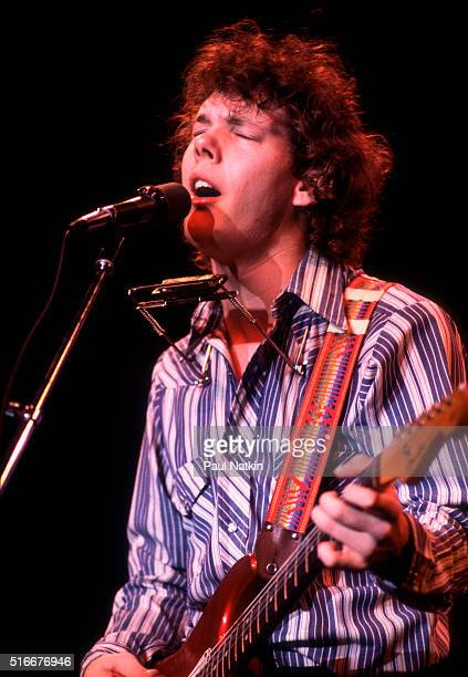 American Folk and Pop musician Steve Forbert plays guitar as he performs onstage at the Park West Auditorium, Chicago, Illinois, November 16, 1979.