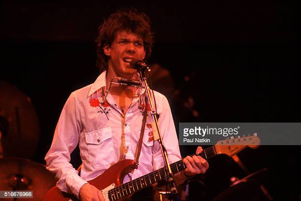 American Folk and Pop musician Steve Forbert plays guitar as he performs onstage at the Park West Auditorium, Chicago, Illinois, March 21, 1979.