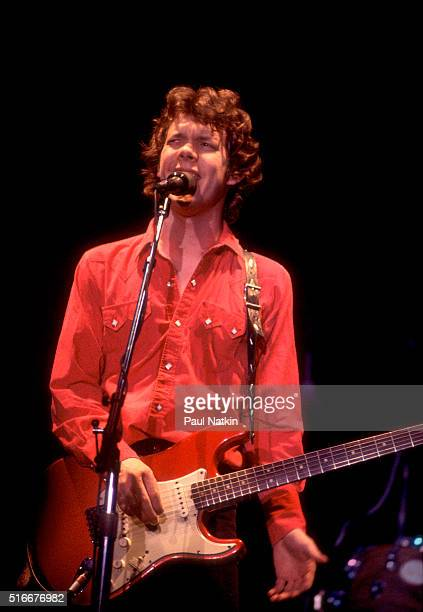 American Folk and Pop musician Steve Forbert plays guitar as he performs onstage at the Park West Auditorium, Chicago, Illinois, December 20, 1980.