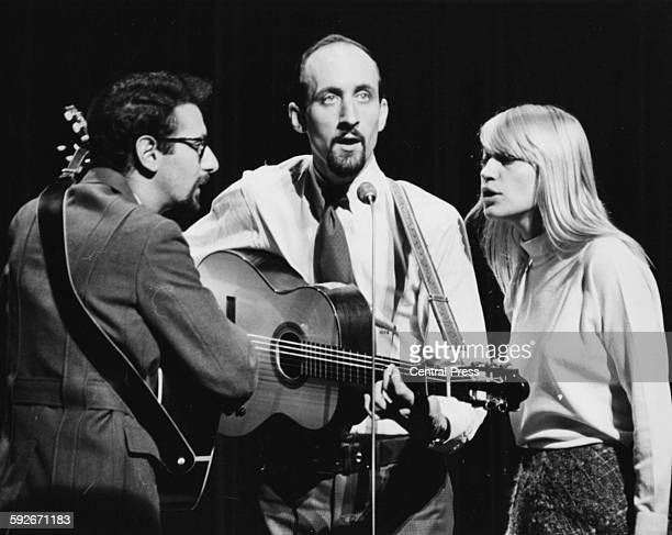 American folk band 'Peter Paul and Mary' pictured performing during rehearsals for the Royal Variety Show at the London Palladium November 8th 1965