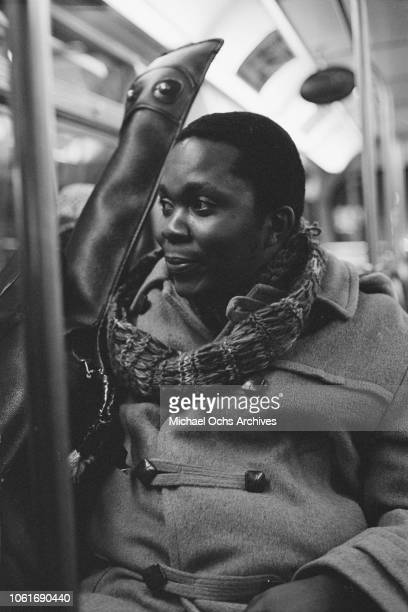 American folk jazz and soul guitarist and singer Terry Callier on a Chicago bus USA circa 1975