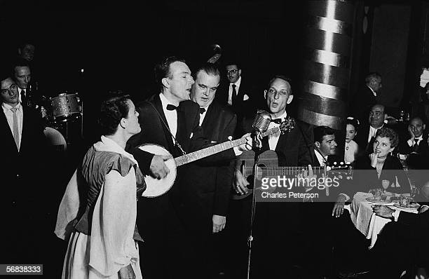 American folk music group the Weavers perform before an audience at Cafe Society Downtown New York New York July 17 1951 The group is from foreground...