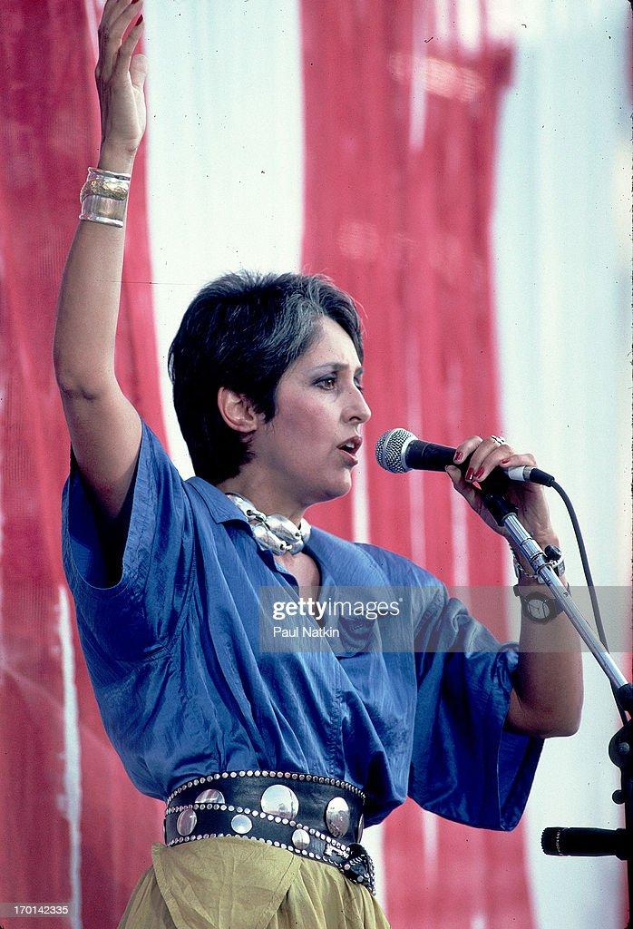 American folk musician Joan Baez performance onstage during the Live Aid benefit concert, Philadelphia, Pennsylvania, July 13, 1985.