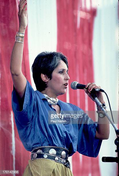American folk musician Joan Baez performance onstage during the Live Aid benefit concert Philadelphia Pennsylvania July 13 1985