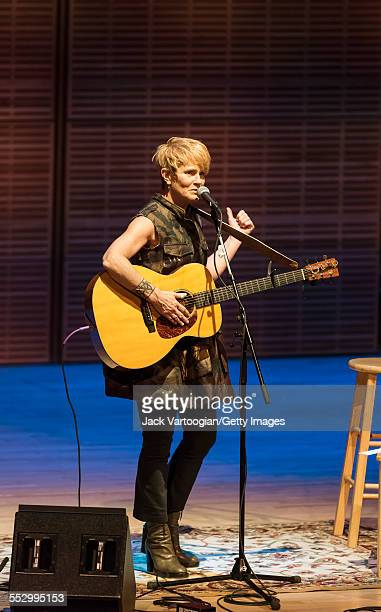 American folk musician Shawn Colvin plays guitar as she performs at Zankel Hall at Carnegie Hall New York New York April 11 2015