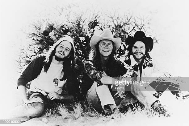 American folk rock band America circa 1975 Left to right Dewey Bunnell Gerry Beckley and Dan Peek