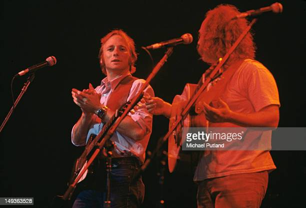 American folk rock group Crosby Stills Nash in concert circa 1975 From left to right Stephen Stills and David Crosby
