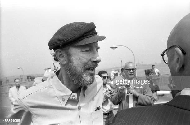 American folk singer and activist Pete Seeger speaks to the press about his Clearwater sloop project New York August 1 1969