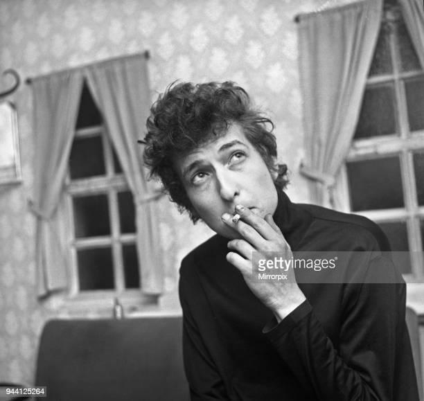 American folk singer Bob Dylan pictured backstage at De Montfort Hall on his visit to Leiciester 2nd May 1965