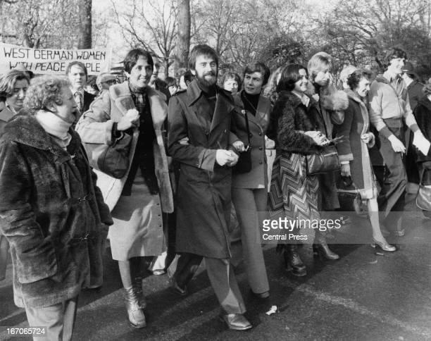 American folk singer Joan Baez activists Ciaran McKeown and Mairead Corrigan and Jane EwartBiggs wife of a British ambassador killed in Dublin during...
