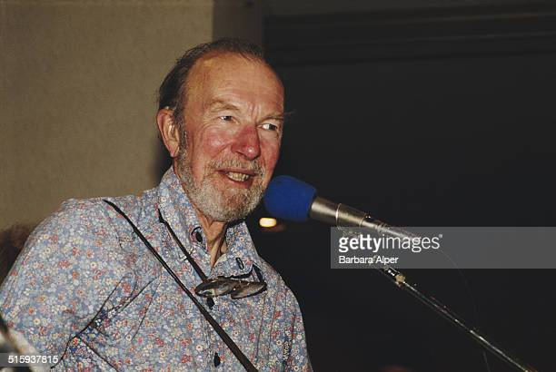 American folk singer Pete Seeger playing in New York City, 7th October 1987.