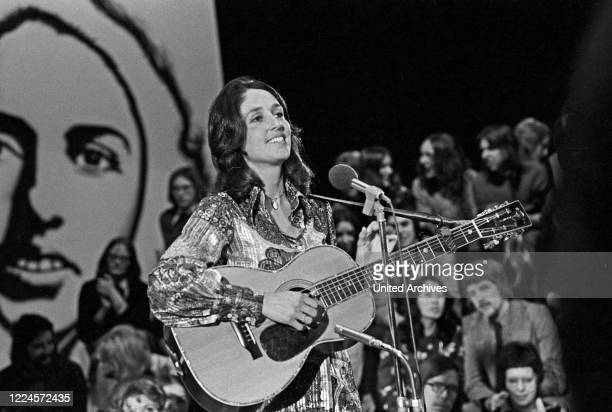 American folk singer, songwriter and civil rights activist Joan Baez, Germany early 1970s.