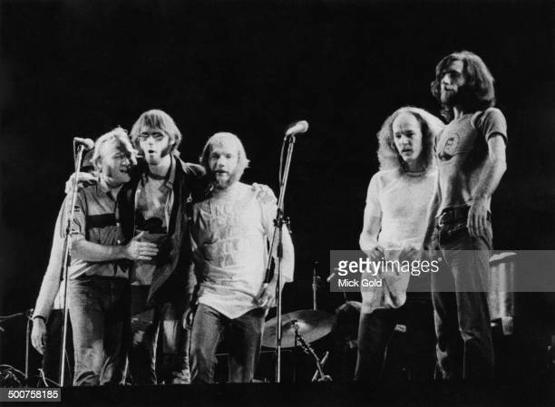 American folkrock group Crosby Stills Nash Young take their last curtain call after a concert at Wembley Stadium London 14th September 1974 Left to...