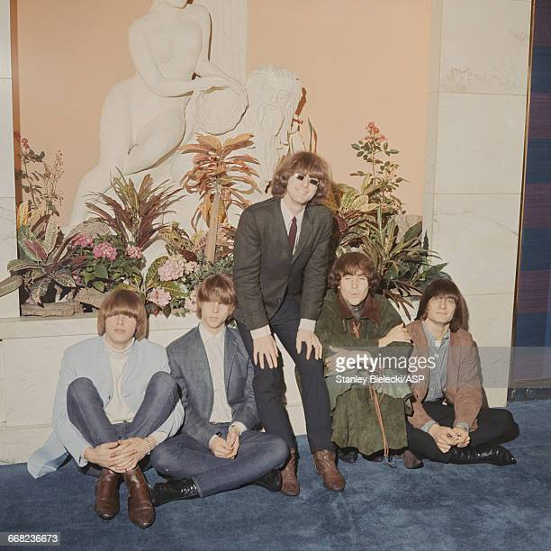American folkrock group The Byrds at a London hotel August 1965 Left to right drummer Michael Clark bassist Chris Hillman singer and guitarist Roger...