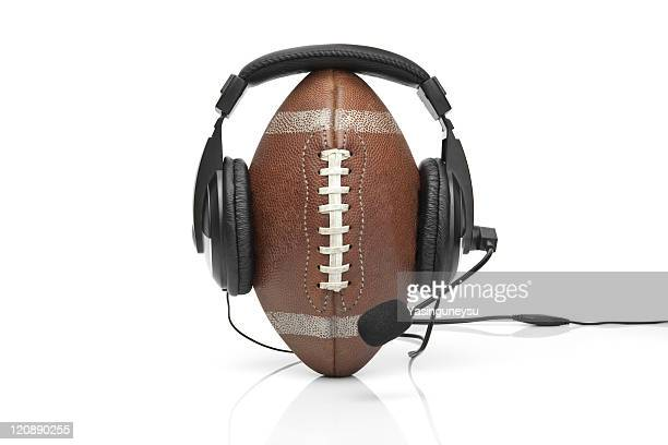 american football ball announcer - commentator stock pictures, royalty-free photos & images