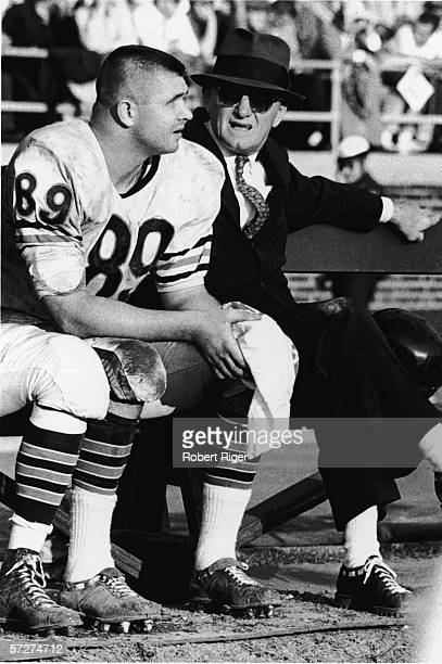 American football coach, owner, and former professional football player George Halas , head coach for the Chicago Bears, sits on the bench with his...