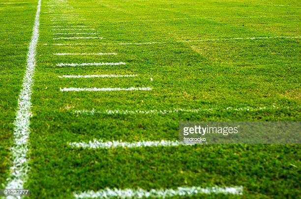 american football field at football game - football league stock pictures, royalty-free photos & images