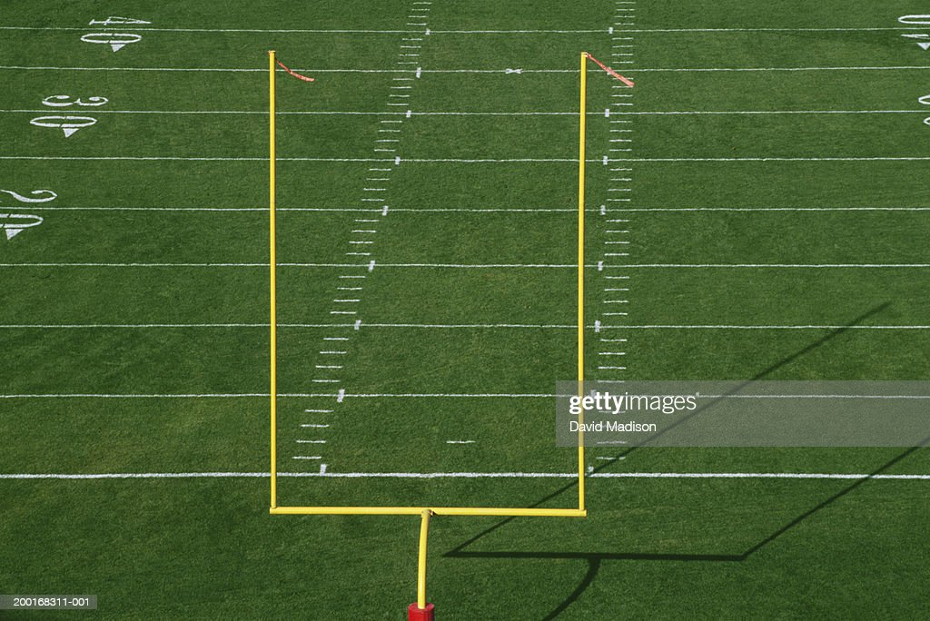 American football field with goal post, elevated view : Stock Photo