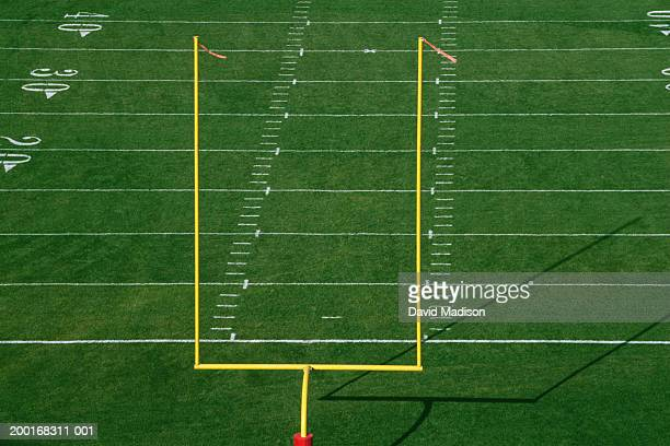 american football field with goal post, elevated view - goal post stock pictures, royalty-free photos & images