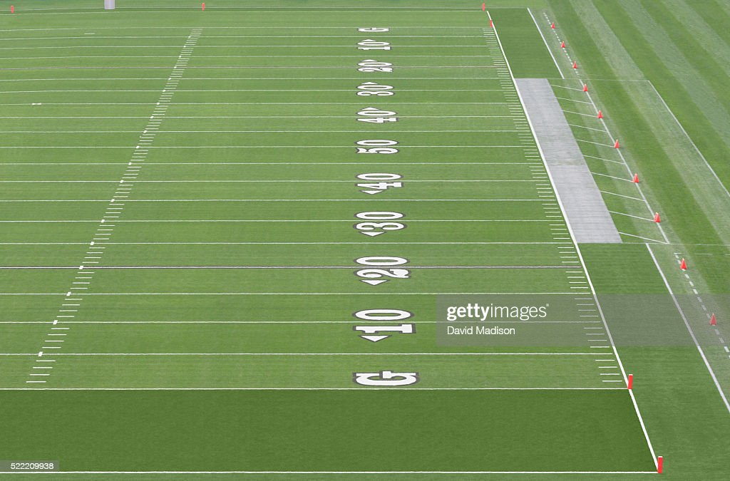 American Football Field With Yardage Markings Stock Photo Getty Images