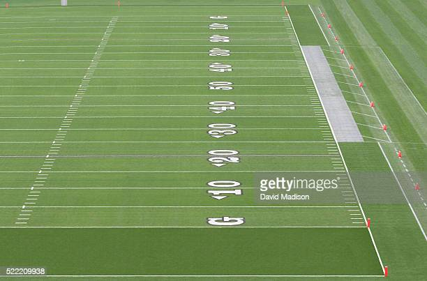 american football field with yardage markings - end zone stock pictures, royalty-free photos & images