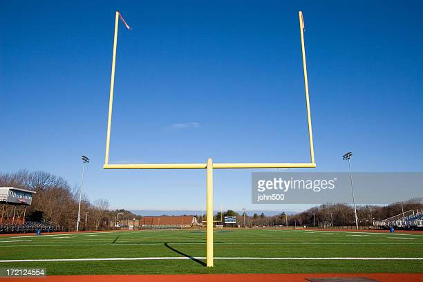 american football goal posts - end zone stock pictures, royalty-free photos & images