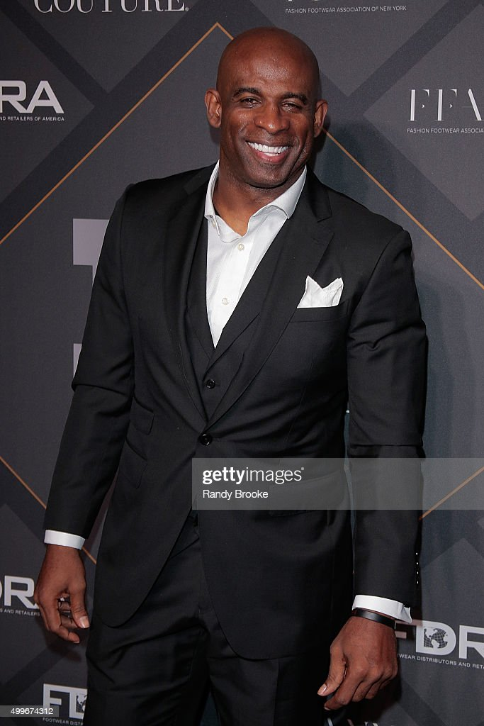 American Football Hall of Famer and Presenter of the Brand of the Year Award, Deion Sanders attends the 29th FN Achievement Awards at IAC Headquarters on December 2, 2015 in New York City.