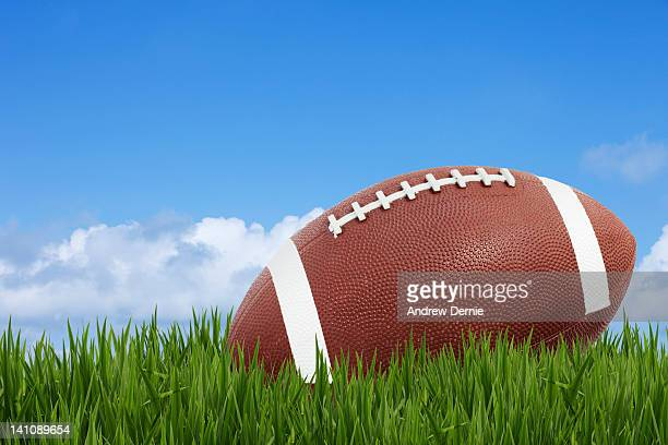american football in grass - andrew dernie stock pictures, royalty-free photos & images