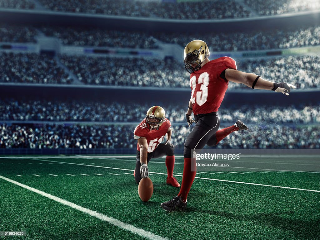 American football kick off : Stock Photo