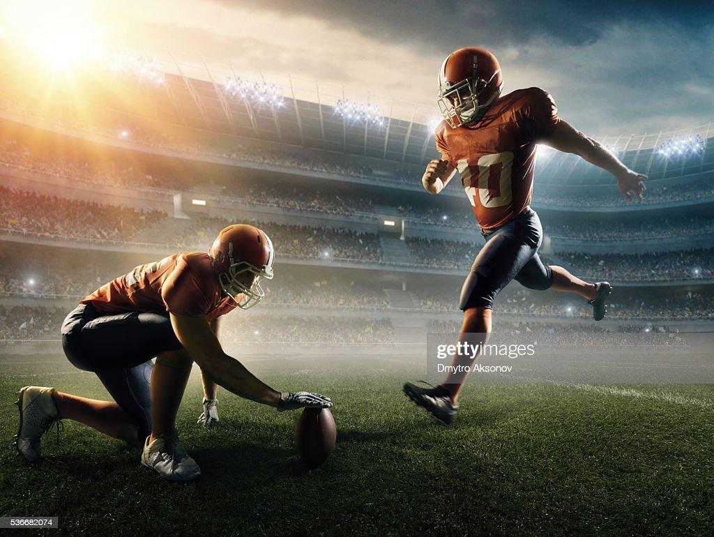 American football kick off : Stock Photo