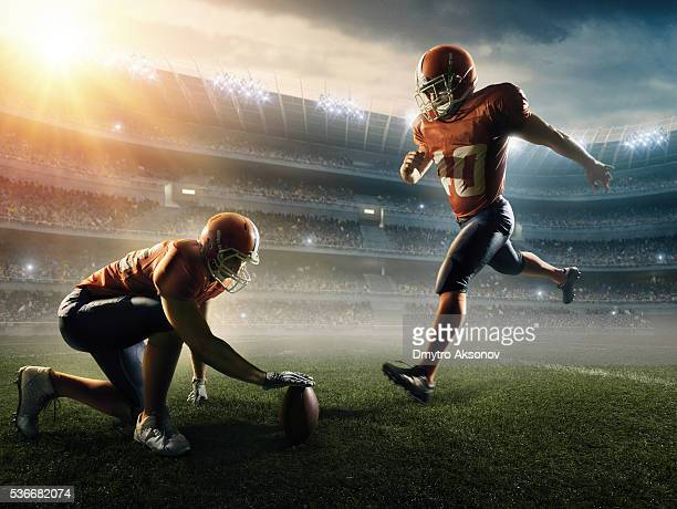 american football kick off - kicking stock pictures, royalty-free photos & images