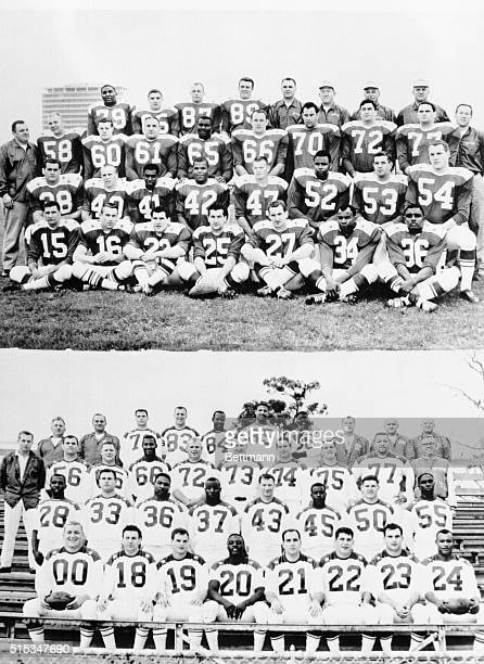 American Football League AllStar football stars for 1/16 AllStar game Top is the AFL East team and bottom photo is the West team