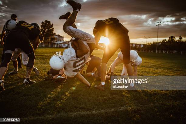 American football match at sunset!