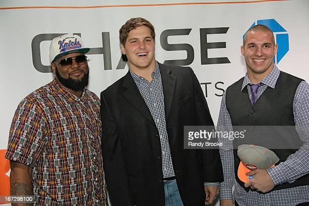 American Football NFL draft prospects Sheldon Richardson Luke Joeckel and Bjorn Werner on the blue carpet at the Boston Celtics vs the New York...